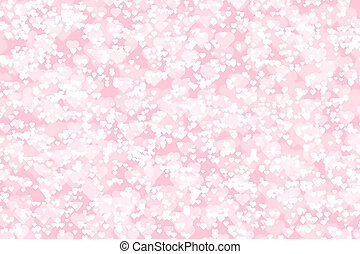 Pink background with white hearts of different size