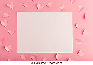 pink background with white sheet and hearts
