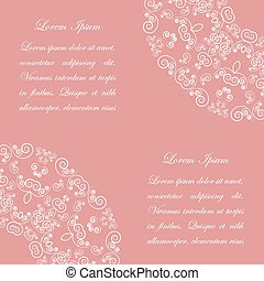 Pink background with white vintage ornate pattern