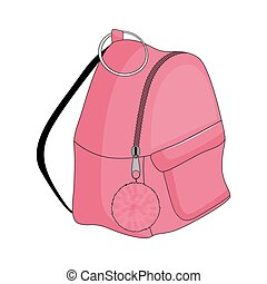 Pink backpack isolated on white background. Vector illustration.