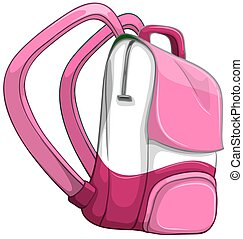 Pink backpack on white