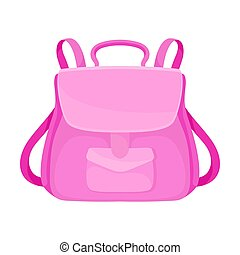 Pink backpack. Vector illustration on a white background.