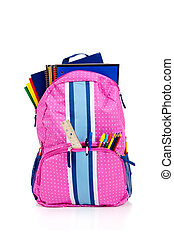 Pink backpack with school supplies - Pink and blue backpack...
