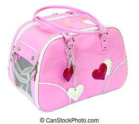 Pink bag for dog