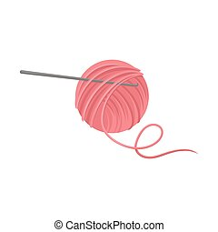 Pink ball of wool yarn with metal crochet hook. Tools for handicraft. Hobby theme. Flat vector icon