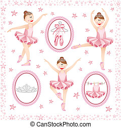 Scalable vectorial image representing a pink ballerina digital collage, isolated on white.
