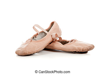 Pink ballet slippers on white