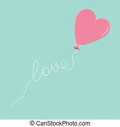 Pink balloon in shape of heart with love thread Flat design