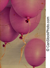 pink balloons. Photo in old image style.