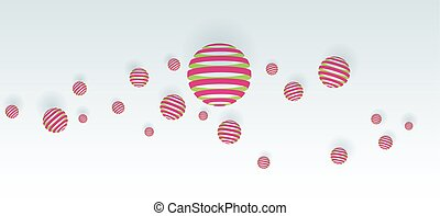 Pink balls on white background