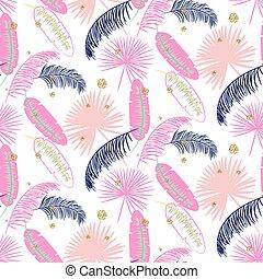 Pink banana palm leaves purple seamless vector pattern.