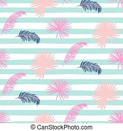 Pink banana palm leaves striped blue seamless vector pattern.