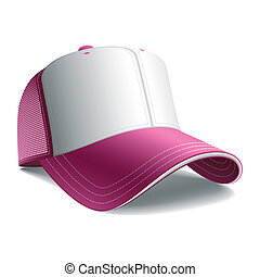 Pink baseball cap - Detailed vector illustration of a pink ...