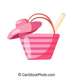 Pink beach bag and hat icon in cartoon style on a white background