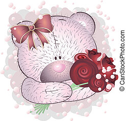Pink bear with roses