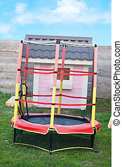 Pink beautiful House in a playground Trampoline with safety net