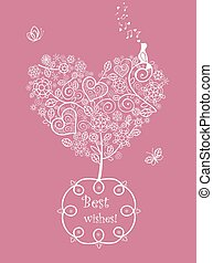 Pink beautiful wedding card with la