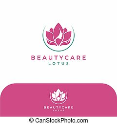 Pink Beauty Face Lotus, Hand Care Logo Design Vector