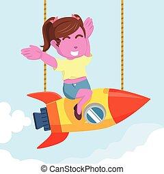 pink beauty girl happy twin tail on rocket