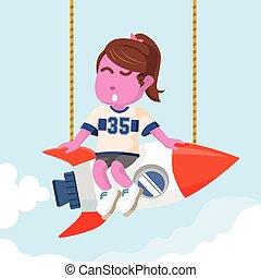 pink beauty girl twin tail on rocket