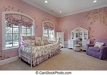 Pink bedroom in suburban home