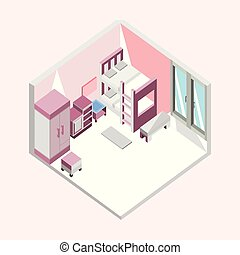 Pink Bedroom Isometric Home Interior Illustration Design