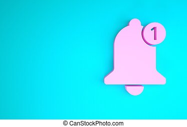 Pink Bell icon isolated on blue background. New Notification icon. New message icon. Minimalism concept. 3d illustration 3D render