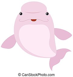 Pink beluga whale on white background