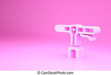 Pink Bicycle handlebar icon isolated on pink background. Minimalism concept. 3d illustration 3D render.