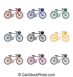 Pink bicycle with basket icon in black style isolated on white background. France country symbol stock vector illustration.