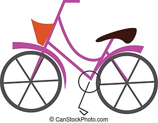 Pink bicycle with basket illustration print vector on white background