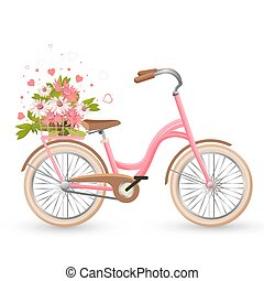 Pink bicycle with cart full of flowers and hearts vector