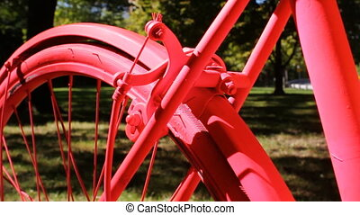 Pink bike. - Detail of pink bicycle. Shallow depth of field.