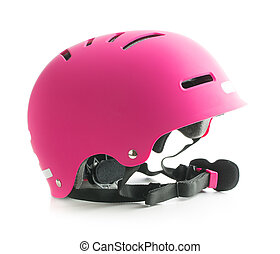 Pink bike helmet.