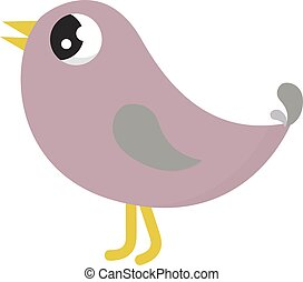 Pink bird, illustration, vector on white background.