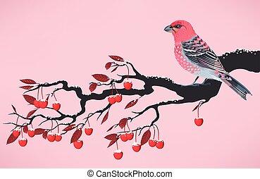 Pink bird on cherry branch