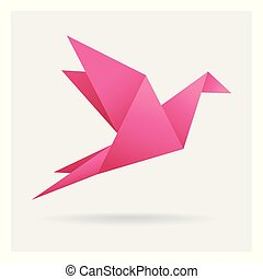 pink bird paper craft flying in frame art isolated on background