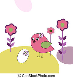 Pink bird with eggs and flowers