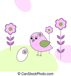 Pink bird with white egg