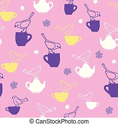 Pink birds and teapots vector repeat pattern