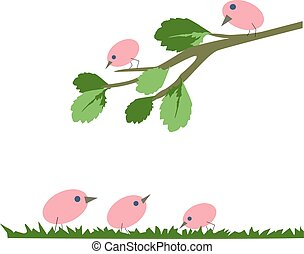 pink birds sitting on a branch, illustration