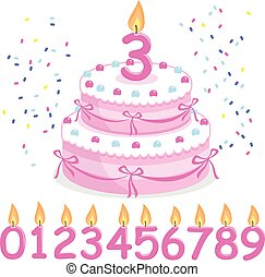 Pink birthday cake and candles. Vector Illustration