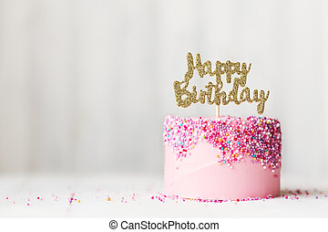 Pink birthday cake - Birthday cake with sparkly banner