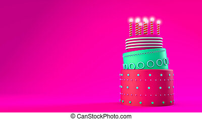 Pink birthday cake with three layers on a pink background