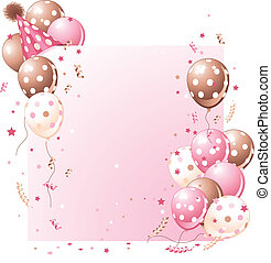 Pink Birthday card - Pink birthday card with balloons, hat...