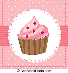 cup cake - pink birthday card with cup cake. vector...