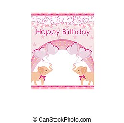 pink birthday card with cute elephants