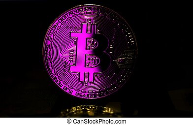 Pink Bitcoin BTC coin is surrounded by a gloomy background