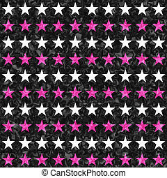 Pink, black and white star seamless textured pattern background