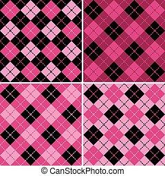 pink-black, motifs, plaid-argyle